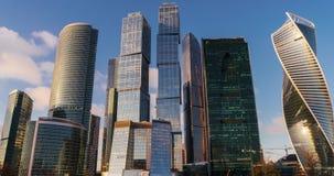 Rascacielos de la ciudad de Moscú del centro de negocios de time lapse almacen de metraje de vídeo