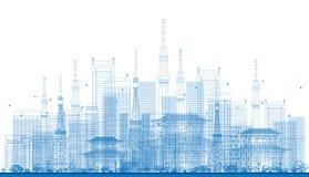 Rascacielos de la ciudad del esquema y torres de la TV en color azul Foto de archivo