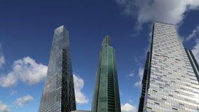Rascacielos de la ciudad internacional del centro de negocios, Moscú, Rusia almacen de video