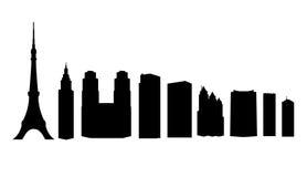 Rascacielos de las señales de Tokio aislados ilustración del vector