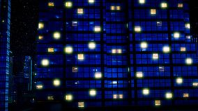 Rascacielos debajo del cielo de la estrella en la noche ilustración del vector