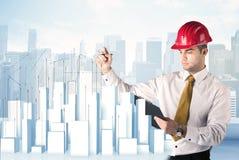 Rascacielos del dibujo del hombre de negocios Imagen de archivo