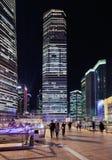 Rascacielos en el área de Lujiazui en la noche, Shangai, China Fotografía de archivo libre de regalías
