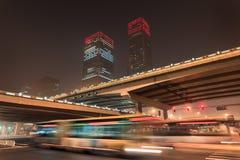Rascacielos en la noche en el centro de ciudad de Pekín, China Foto de archivo