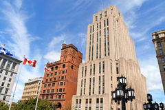 Rascacielos en Vieux Montreal, Canadá Imágenes de archivo libres de regalías