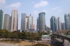 Rascacielos financieros del distrito de Lujiazui en Shangai Imágenes de archivo libres de regalías