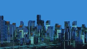 Rascacielos futuristas en el flujo El flujo de datos digitales Ciudad del futuro ilustración 3D representación 3d Fotos de archivo libres de regalías