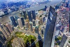 Rascacielos Liujiashui Shangai China del centro financiero de mundo Imágenes de archivo libres de regalías