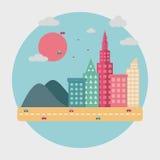Rascacielos planos de la escena de la ciudad con el UFO Fotos de archivo