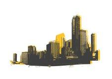 Rascacielos retros. Arte del vector. Imagenes de archivo