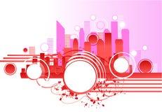 Rascacielos rosados stock de ilustración