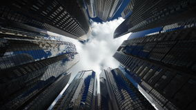 Rascacielos sobre el cielo azul, lazo inconsútil stock de ilustración
