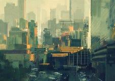 Rascacielos urbanos en la puesta del sol Imagen de archivo libre de regalías