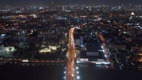 Rascacielos y edificios altos en la ciudad de Bangkok, Tailandia Districto financiero céntrico 4K paisaje urbano VDO almacen de metraje de vídeo