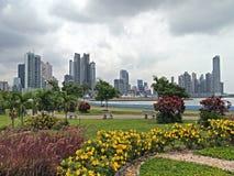 Rascacielos y flores Fotos de archivo libres de regalías