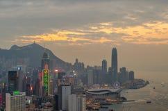 Rascacielos y otros edificios en Hong Kong Island en Hong Kong, China, vista de la colina de Braemar Imagenes de archivo
