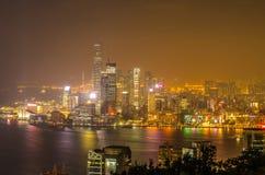 Rascacielos y otros edificios en Hong Kong Island en Hong Kong, China, vista de la colina de Braemar Fotografía de archivo libre de regalías