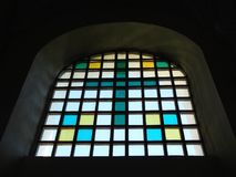 Old church stained - glass window , Lithuania Royalty Free Stock Image
