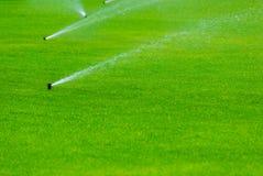 Rasenberieselungsanlage, die Wasser über grünem Gras kastriert Bewässerungssystem Lizenzfreies Stockfoto