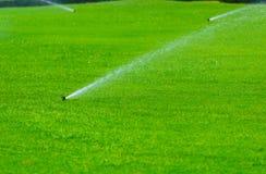 Rasenberieselungsanlage, die Wasser über grünem Gras kastriert Bewässerungssystem Stockfotos