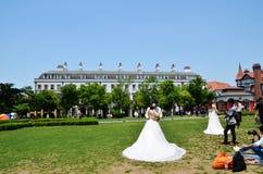 Rasenhochzeitskleid der Braut Lizenzfreie Stockfotografie