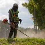 Rasenmähmaschine während der Arbeit Lizenzfreies Stockfoto