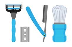 raser réglé Dirigez l'illustration des rasoirs masculins et d'un bristl Photo stock