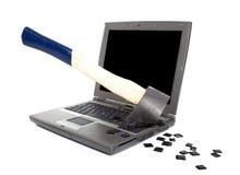 Raserei gegen Computer Stockfoto