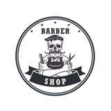 Raseur-coiffeur Logo Retro Vector de crâne Photographie stock