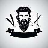 Raseur-coiffeur Logo Template avec la tête et les ciseaux de hippie Illustration de vecteur illustration de vecteur