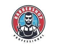 Raseur-coiffeur professionnel Logo Badge Emblem de rasage étroit de monsieur de cru illustration libre de droits
