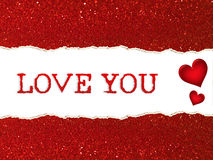 Rasgado de extracto rojo del bokeh del brillo con amor usted redacta Imágenes de archivo libres de regalías