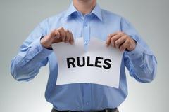 Rasgando acima as regras imagem de stock royalty free