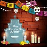Rasgo com velas e bandeira do partido ao dia dos mortos ilustração do vetor