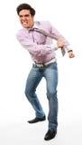 Rasgo irritado do homem seu laço Foto de Stock Royalty Free
