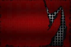 Rasgo preto e vermelho da fibra do carbono na malha metálica preta Fotografia de Stock Royalty Free