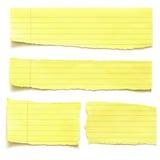 Rasgones amarillos del papel Foto de archivo libre de regalías