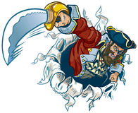 Rasgones del pirata de la historieta del vector fuera del fondo Imagenes de archivo