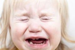 Rasgones gritadores del pequeño bebé del retrato emocionalmente Fotografía de archivo libre de regalías