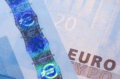Rasgos de seguridad euro fotografía de archivo libre de regalías