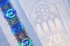 Rasgos de seguridad euro fotografía de archivo