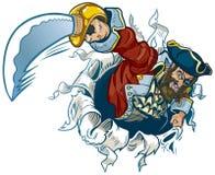 Rasgos do pirata dos desenhos animados do vetor fora do fundo Imagens de Stock