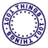 Rasguñado texturizó 1001 COSAS alrededor del sello del sello stock de ilustración