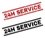 Rasguñado texturizado y limpie las impresiones del sello del SERVICIO 24H ilustración del vector