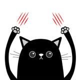 Rasguño de la garra del gato negro de la historieta Rasguño sangriento rojo Cabeza divertida de la cara Ojos, nariz, mano de impr Fotografía de archivo libre de regalías