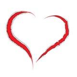 Rasguño de las garras del corazón de la tarjeta del día de San Valentín Imagen de archivo