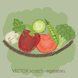 Rasguño de las verduras en frente de la placa Imagenes de archivo
