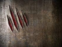 Rasguños de la garra en la pared wetal Imagen de archivo