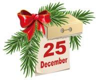 Rasgue el calendario el 25 de diciembre Muchos ornamentos y regalos del día de fiesta Foto de archivo libre de regalías