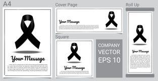 RASGUE a fita fúnebre do preto do cartão e a bandeira do texto no grupo branco do vetor do fundo Fotografia de Stock
